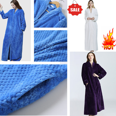 AU46.99 • Buy  Ladies Soft Feel Cozy Zip Up Long Dressing Gown/Bath Robe Cover Up Housecoat MU