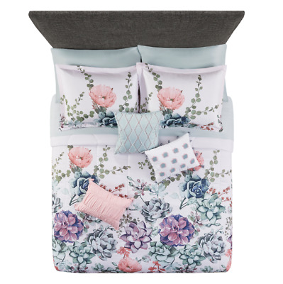$ CDN75.95 • Buy 10 Piece Jade Floral Comforter Set Bed In Bag Sheets Bedding Pillows Queen Size