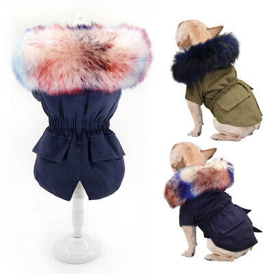 £11.99 • Buy Fur Collar Small Dog Coats For Winter Pet Clothes Jacket Yorkie French Bulldog