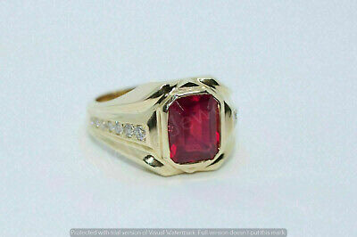 $92.99 • Buy Men's 14k Yellow Gold Over 1.59CT Emerald Cut Ruby & Diamond Exclusive Ring