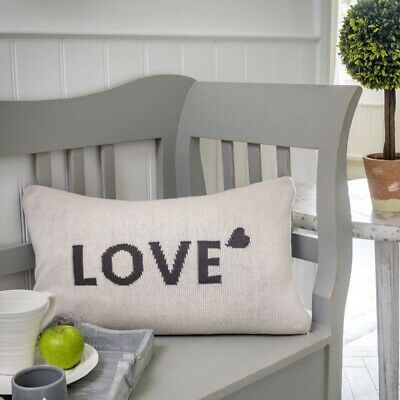 Reversible Cream And Grey 'Love' Knit Cushion  • 20£