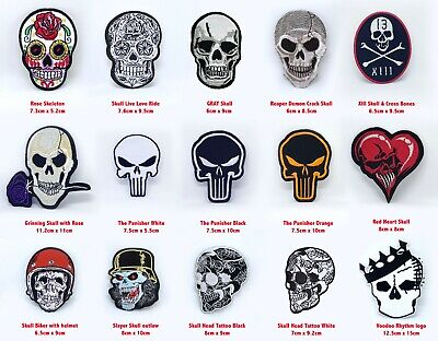 £2.19 • Buy Skull Head, Punk Head, Heart Skull Collection Iron Or Sew On Embroidered Patch