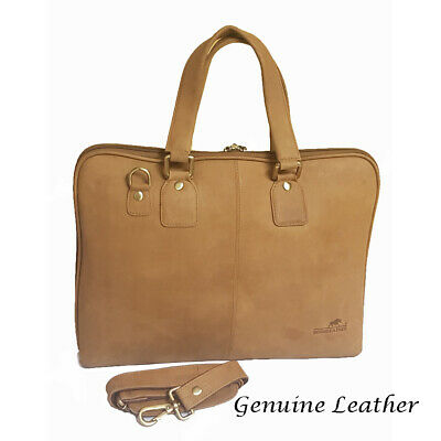 £99 • Buy Genuine Oiled Leather Large 16  Laptop Business Messenger Bag Tan RRP £ 249.00