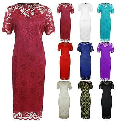 £23.99 • Buy Plus Size Ladies Short Sleeve Floral Lace Lined Bodycon Midi Evening Party Dress