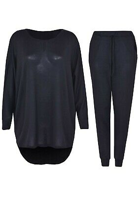 2 Piece Tracksuit Set High Low Top And Palazzo Bottoms Casual Loungewear Set • 12.65£