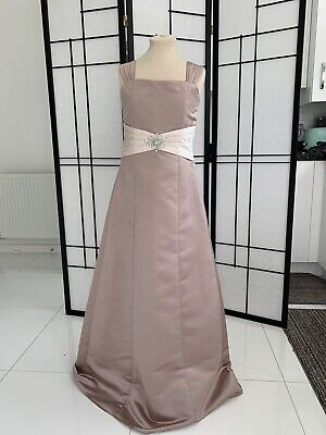 Veromia Flower Girl Style VRF81251 Child 10 Mink/ Champagne A-line Satin • 10£