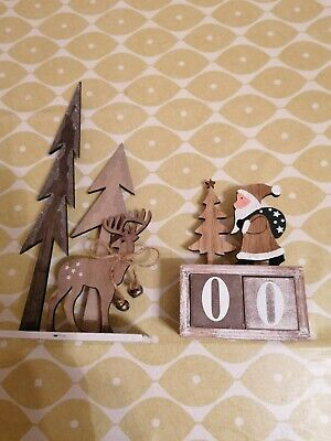£10 • Buy Set Of 2 Wooden Decorations Father Christmas Countdown And Reindeer+tree (C4)