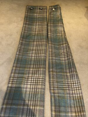 NEXT Pair Of Tartan/Checked Eyelet Curtains. Soft Woven And Lined. 135cm X183cm • 30£