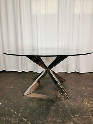 AU2678.13 • Buy CATTELAN ITALIA SPYDER ROUND GLASS DINING TABLE Polished Base GREAT CONDITION