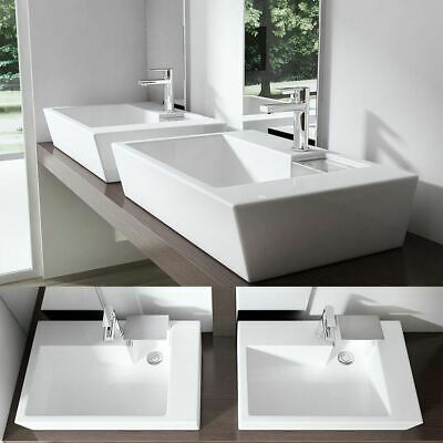 Ceramic Basin Bathroom Sink White Gloss Finish Rectangle Counter Top Waste Cover • 59.40£