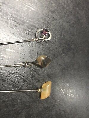 3 Antique Hat Pins Including Charles Horner Sterling Silver And Art Deco • 45£