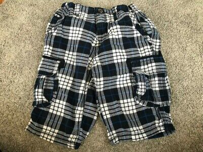 Boys Blue White Checked Shorts 9-10 Years Adjustable Waist • 0.99£