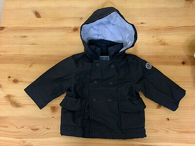 JACADI  Jacket Coat Age 12 Months Navy Blue With Hood And Inner Collar • 18£