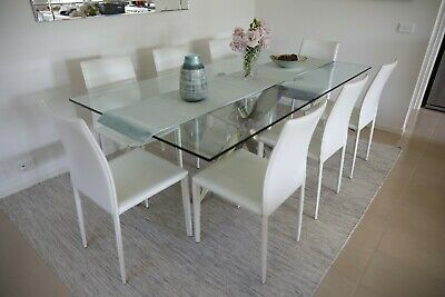 AU799 • Buy 9 Piece Dining Set, Glass Table And 8 White Leather Chairs