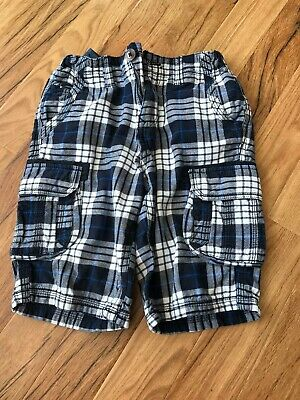 Boys Navy Blue White Checked Shorts Adjustable Waist  9-10 Years • 1.50£