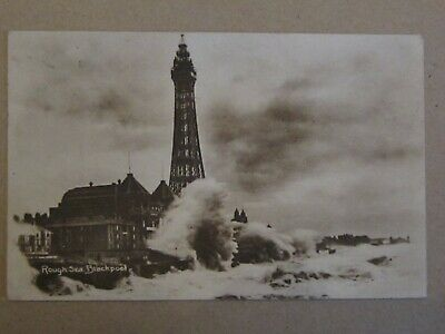 Blackpool Collectable Postcard. Rough Sea, Nice Image. B&W. Used • 0.99£