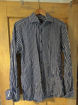M&S Sartorial Mens Blue Striped Slim Fit Double Cuff Long Sleeve Shirt Size 16   • 2.50£