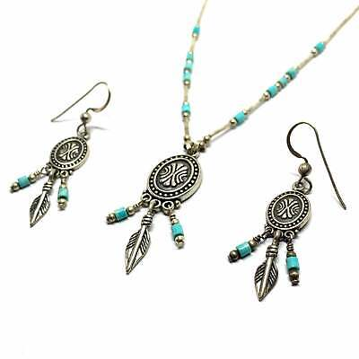 VTG Native American QUOC Q.T. 925 Silver Turquoise Earrings & Necklace 20'' • 19.99£