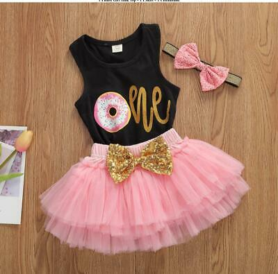 AU27.50 • Buy Baby Girl 1st Birthday Outfit Tutu For Cake Smash Photoshoot 3 Pcs