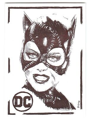 $ CDN14.03 • Buy ACEO Art Sketch Card DC Michelle Pfeiffer As Catwoman From Movie Ink Drawing D