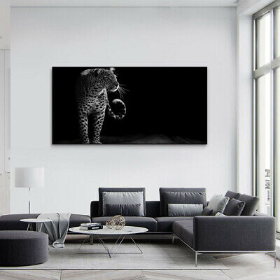 Brave Leopard Black&White Painting Canvas Wall Art Picture Print Home Decor • 10.79£