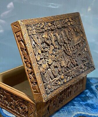 Antique Chinese Cantonese Carved Wood Box • 10£