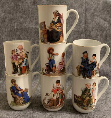 $ CDN19.09 • Buy Norman Rockwell Museum Collection 1982 Coffee Mugs Cups Gold Trim Set Of 7