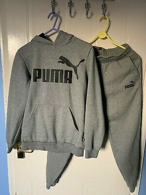 Boys Puma Age 13-14 Years Grey Hoodie And Tracksuit Bottoms Set • 17.99£