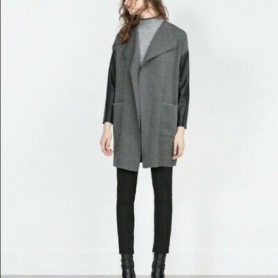 Zara Knit  Long Faux Leather Sleeved Cardigan Size M • 45£