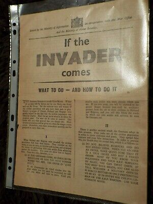 WWII IF THE INVADER COMES  - Min Of Information June 1940 • 0.99£