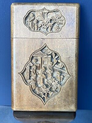 Antique Chinese Cantonese Carved Wood Card Case • 24£