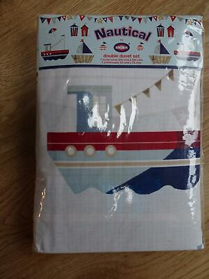 NAUTICAL BY KIDS CLUB Boys Double Duvet Set Cover Pillowcases Boat Sailor NEW • 0.99£