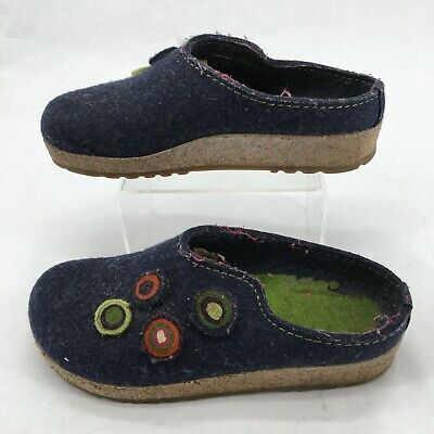 Haflinger Kanon Grizzly Clogs Mule Comfort Shoes Womens 38 Casual Cork Wool Blue • 46.63£