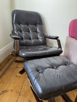 £430 • Buy Black Vintage 70's Leather And Rose Wood Recliner Chair And Stool