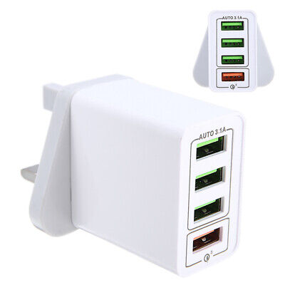 AU5.99 • Buy 4-Port QC 3.0 Fast Quick Charger USB Hub Wall Charge Power Adapter Office AU