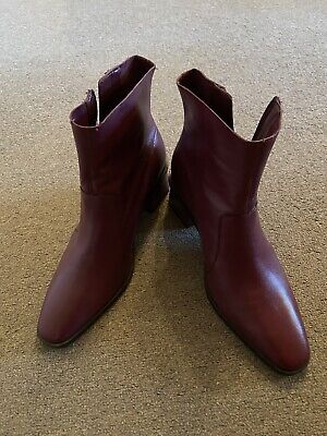 Topshop Burgundy Leather Ankle Boots - Size 7 NEW • 25£