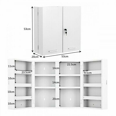 53x20x53cm Lockable First Aid Medicine Wall Mounted Cabinet • 80£
