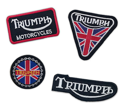 Triumph Motorcycle Biker Union Jack Badges Iron Or Sew On Embroidered Patch • 1.79£