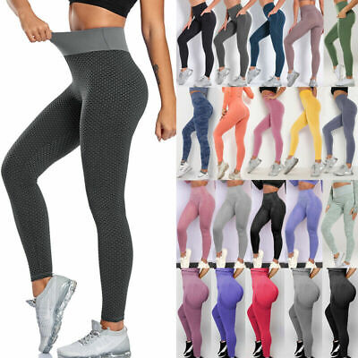 High Waist Yoga Pants Push Up Leggings Anti-cellulite Ruched Gym Sports Trousers • 4.86£