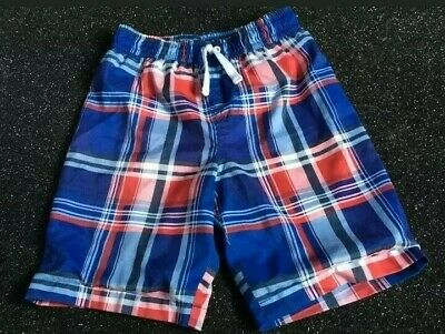 Boys Checked Red Blue Swim Shorts 5 Years • 0.99£