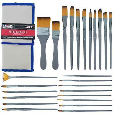 £13.59 • Buy 24-Piece Artist Paint Brush Set, Synthetic Brushes, Watercolor Acrylic Oil, Case
