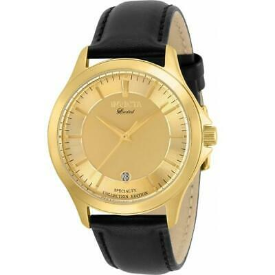 Invicta Specialty 31126 Men's Round Gold-Tone Analog Date Black Leather Watch • 37.30£