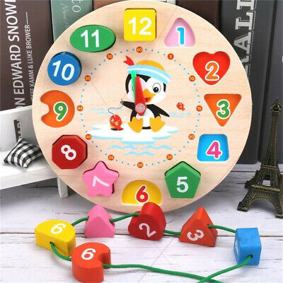 £6.93 • Buy Children Kids Wooden Clock Shape Puzzle Early Learning Number Educational Toy