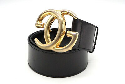 AU333.33 • Buy GUCCI 70/28 Vintage Waist Mark Wide Belt GG Logo Buckle Leather Black 3789k