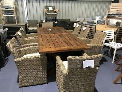 AU2499 • Buy Solid Timber Outdoor Table With 8 Wicker Chairs.