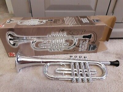 Kids Plastic Toy Trumpet - Silver Colour - Good Condition - Boxed • 2.20£