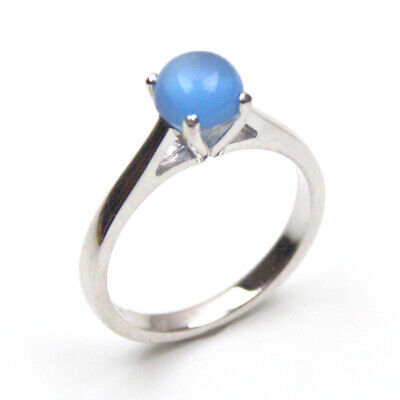 £45 • Buy Silver Ring Blue Chalcedony Cabochon Set In Sterling Silver