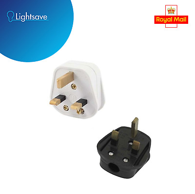 Mains Power Uk 3 Pin Fused Plug,3a,13a Black / White Rewireable • 1.50£