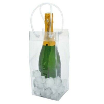 Clear PVC Ice Bag Carrier Bottle Wine Cooler Chiller Travel Party Best Price • 7.29£