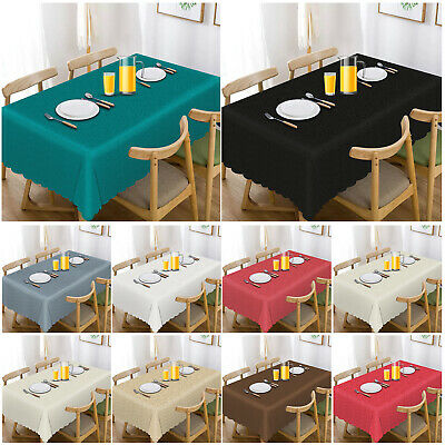 Wipe Clean Jacquard Tablecloth Cover Round Rectangle Table Cover Party Tableware • 10.99£